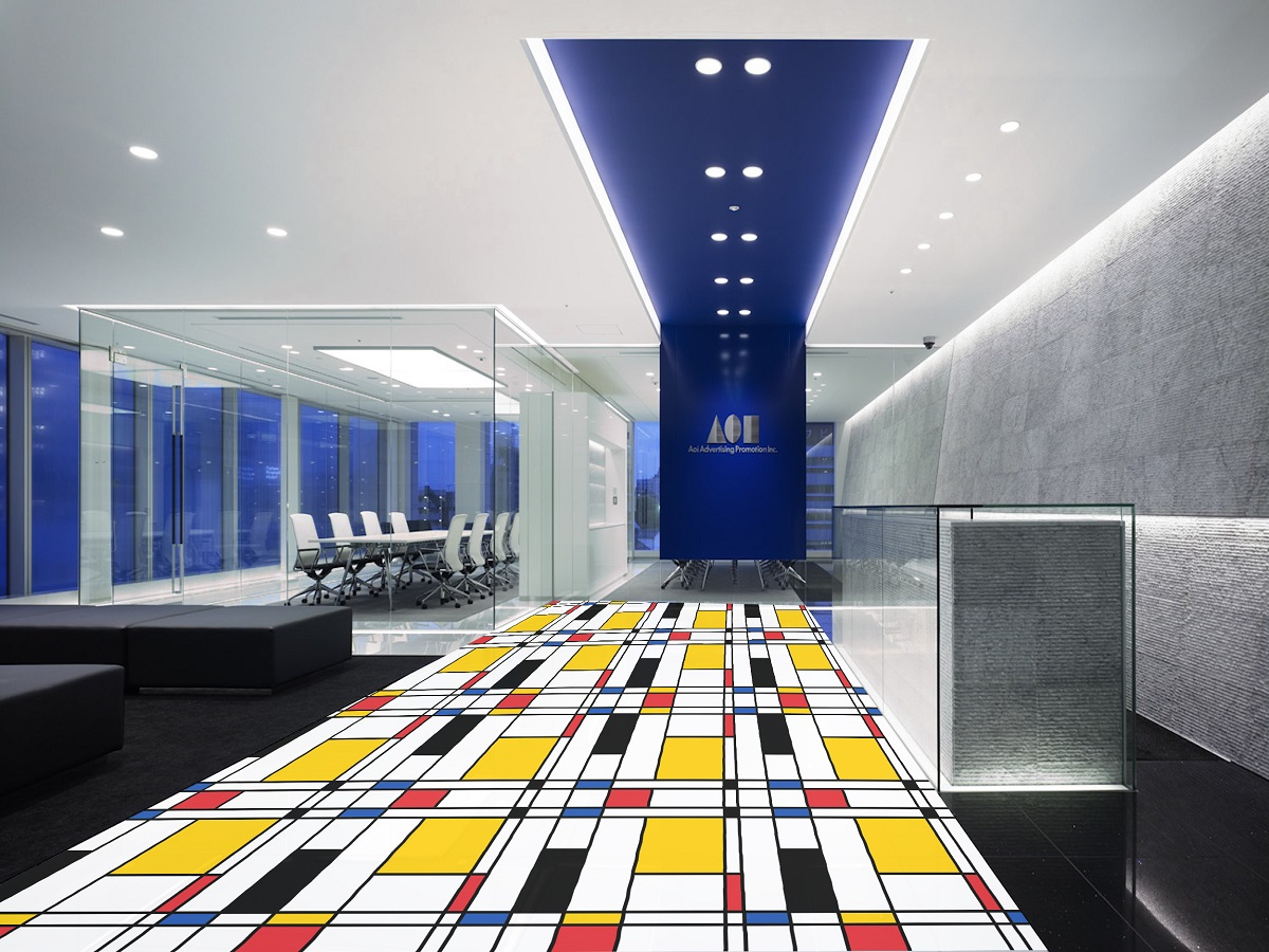 Piet Mondrian Art Printed Floor Vinyl Waiting Area